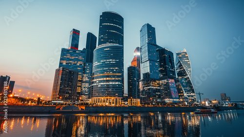 Leinwandbild Motiv Panoramic view of Moscow city and Moskva River after sunset. New modern futuristic skyscrapers of Moscow-City - International Business Center