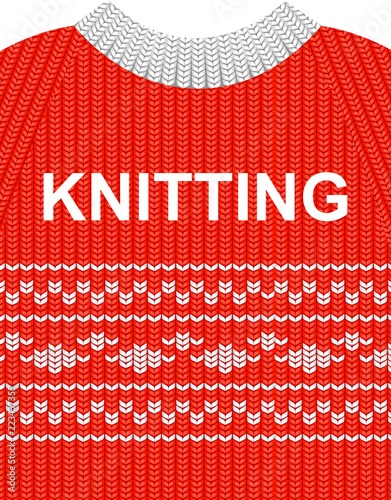 451869046b6b Vector illustration red sweater with white pattern isolated on the ...