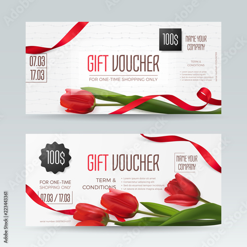 Set of romantic gentle gift vouchers with realistic red tulips and ribbons. Vector elegant layout with 3D flowers for gift card, coupon and certificate. Isolated from background.
