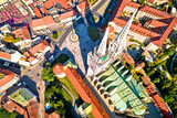 Zagreb cathedral and Dolac marketplace aerial view - 223443714
