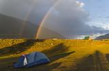 Double rainbow over the tourist camp. - 223450537