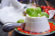 Quadro Italian soft cheese, young white ricotta cheese served with fresh basil and tasty ripe cherry tomatoes