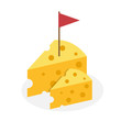 Cheese with red flag on top icon, Logo vector illustration - 223476369