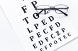 Eye test, eye examination. Glasses with transparent optical lenses on eye test chart on white background top view - 223479375