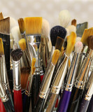old paintbrushes of a painter - 223481315