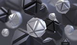 Abstract 3d rendering of chaotic geometric shapes in empty space. Futuristic background with tech abstract elements.