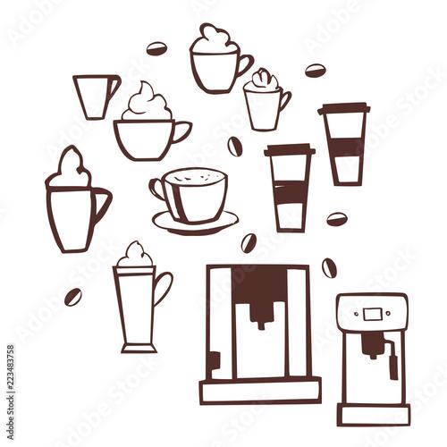 Hand drawn coffee set. Vector sketch  illustration.