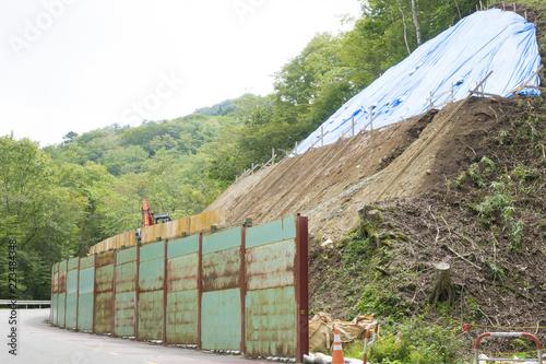 法面工事・工事現場・イメージ・台風 大雨 土砂崩れ 落石