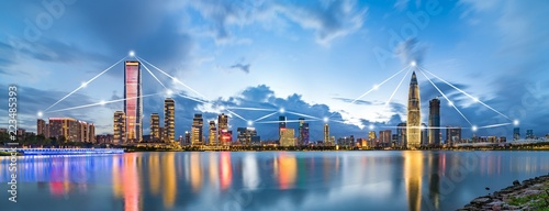 Shenzhen City Scenery and Big Data Concept - 223485393