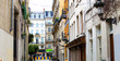 Banner of european narrow street. Concept of towns of Europe and buildings, blog header and website heading.