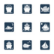 Ships, boats, cargo, logistics, transportation and shipping icons . Ship icon set. Flat set of ship vector icons for web design isolated on white background