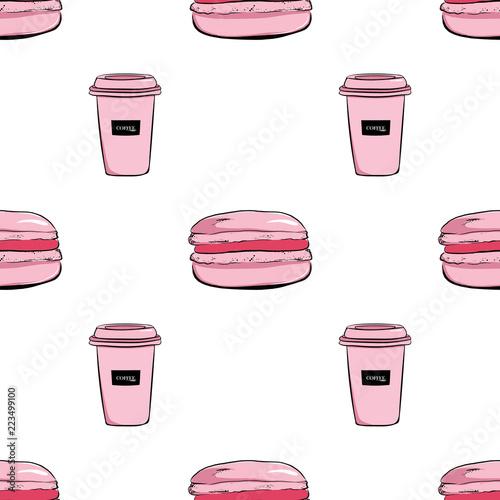pociagany-recznie-bezszwowy-wzor-rozowa-filizanka-kawy-i-macaroons-macarons-deserow-ilustracje-szkice-wektorowe-fasonuje-rocznik-ilustracyjnej-sztuki-pastelowych-kolory-na-bialym-tle