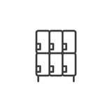 Lockers outline icon. linear style sign for mobile concept and web design. simple line vector icon. Symbol, logo illustration. Pixel perfect vector graphics - 223505379
