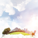 Concept of eco green life as elegant business center on white clouds - 223509339