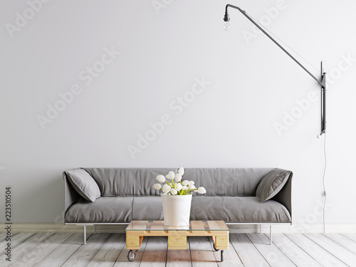 Scandinavian style livingroom with fabric sofa, lamp and plant in bucket on white empty wall background.