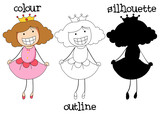 Different graphic style of doodle princes - 223516332