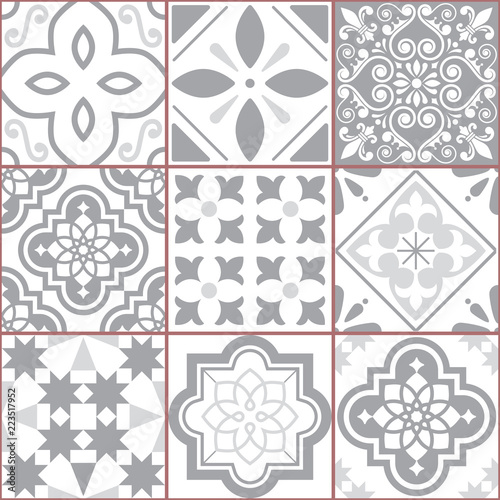 Vector tiles design, Azulejo seamless pattern, abstract and floral decoration inspired by tranditional tile art from Portugal and Spain - 223517952