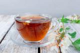 Acacia tea close up on wooden tables - 223523927