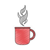Hot coffee cup scribble - 223526707