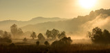 Magical autumn landscape with sun rays in the morning. Vintage landscapes. No efect filter. - 223530730
