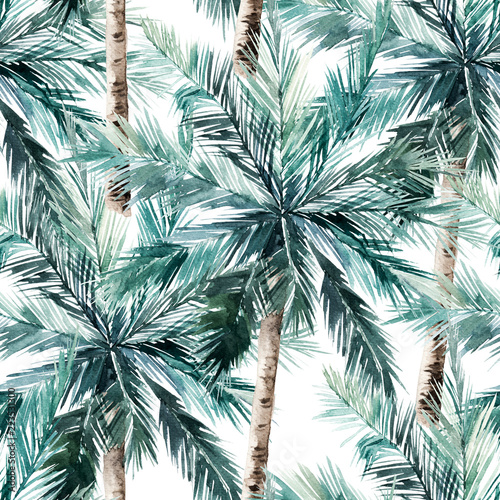 Watercolor seamless pattern. Summer tropical palm trees background. Jungle watercolour print © natikka