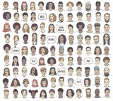Set of 100 hand drawn faces, colorful and diverse portraits of people of different ethnicities - 223532173