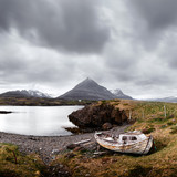 Typical Iceland landscape with fjord, mountains and old ship - 223532703