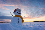 Funny snowman in Santa hat and yellow scalf on snowy field. Merry Christmass and happy New Year! - 223533568