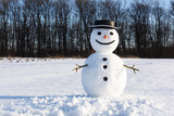 Funny snowman in stylish black hat on snowy field. Merry Christmass and happy New Year! - 223533728