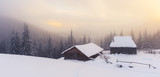 Fantastic winter landscape with wooden house in snowy mountains. Christmas holiday concept. Carpathians mountain, Ukraine, Europe - 223535114