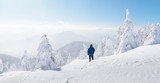 Alone tourist with a backpack in the high mountains in winter time. Travel concept - 223535363