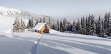 Fantastic winter landscape with wooden house in snowy mountains. Christmas holiday concept. Carpathians mountain, Ukraine, Europe - 223535563