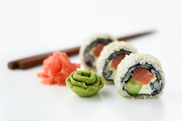 Sushi roll with ginger and wasabi closeup. Food photography