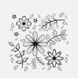set of flowers white background of a dark color. - 223538945
