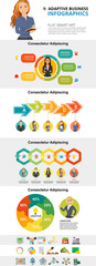 Business progress and planning concept infographic charts set. Process and percentage charts for presentation slide templates. For annual report, advertising, flyer layout and banner design. © RedlineVector