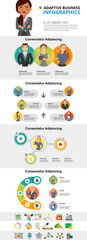 Economy and teamwork concept infographic charts set. Process charts for presentation slide templates. Can be used for annual report, advertising, flyer layout and banner design. © RedlineVector