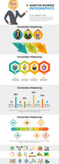 Management and production infographic charts set. Process and bar charts for presentation slide templates. Can be used for annual report, advertising, flyer layout and banner design. © RedlineVector