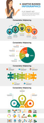 Market and research concept infographic charts set. Business process and pie charts for presentation slide templates. For corporate report, advertising, leaflet layout and poster design. © RedlineVector