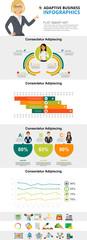 Marketing and statistics concept infographic charts set. Business line, bar and percentage charts for presentation slide templates. For financial report, workflow layout and brochure design. © RedlineVector