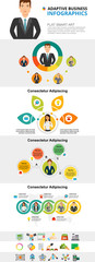Marketing or workflow concept infographic charts set. Business process chart for presentation slide templates. For corporate report, advertising, leaflet layout and poster design. © RedlineVector