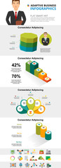 Modern business and planning infographic charts set. Process and percentage charts for presentation slide templates. For corporate report, advertising, leaflet layout and poster design. © RedlineVector