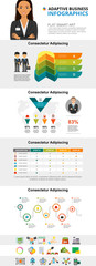 Partnership and research concept infographic charts set. Business process and percentage charts for presentation slide templates. For corporate report, advertising, leaflet layout and poster design. © RedlineVector