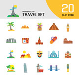 Travel line icon set. Eifel tower, suitcase, tourist mat, mountains, palms. Tourism care concept. Can be used for topics like sightseeing, hiking, trip, journey, vacation - 223545149