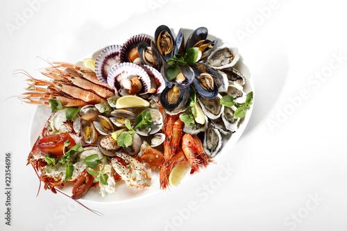 food, dinner, meal, plate, salad, dish, cuisine, fish, seafood,  - 223546916