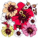 violet  roses, flowers, vintage cards - 223551995