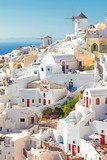Greece, view of the famous Oia village with windmills - 223553532