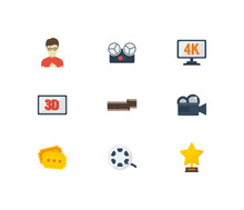 Video Icons Set Cinema Tape And Video Icons  Cinema Reel Camera And Movie Director  Professional For Web App Logo Ui Design Sticker