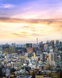 Tokyo Skyline, japan cityscape at twilight, view of office building and downtown and street of minato in tokyo with sunset / sun rise sky background. Japan, Asia