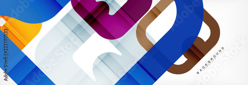 Square geometric background, multicolored template for business or technology presentation or web brochure cover layout, wallpaper. - 223580533