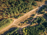 Top view or Aerial view of wild road among autumn forest, photo from drone